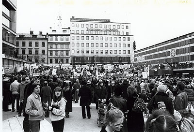 International Women's Day at Sergel's Torg, Stockholm in 1981. Photo: Ulla Bejum. Source: ARAB, Ny Dag.