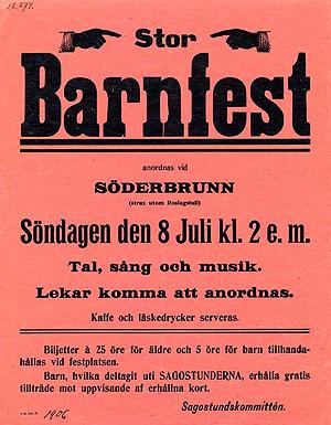 Stor barnfest anordnas vid Söderbrunn. Affisch XXL 1906:022.