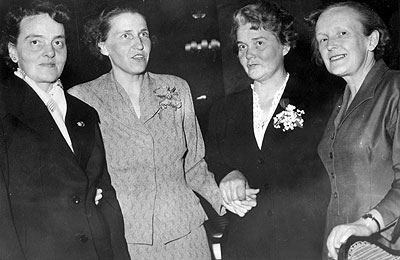 Maja Levin, Ulla Lindström, Brita Åkerman and Edith Malmberg at the Swedish Social Democratic Women's Federation's Congress in 1956. Photo: Sven Larsson. Source: ARAB, Morgon-Tidningen.