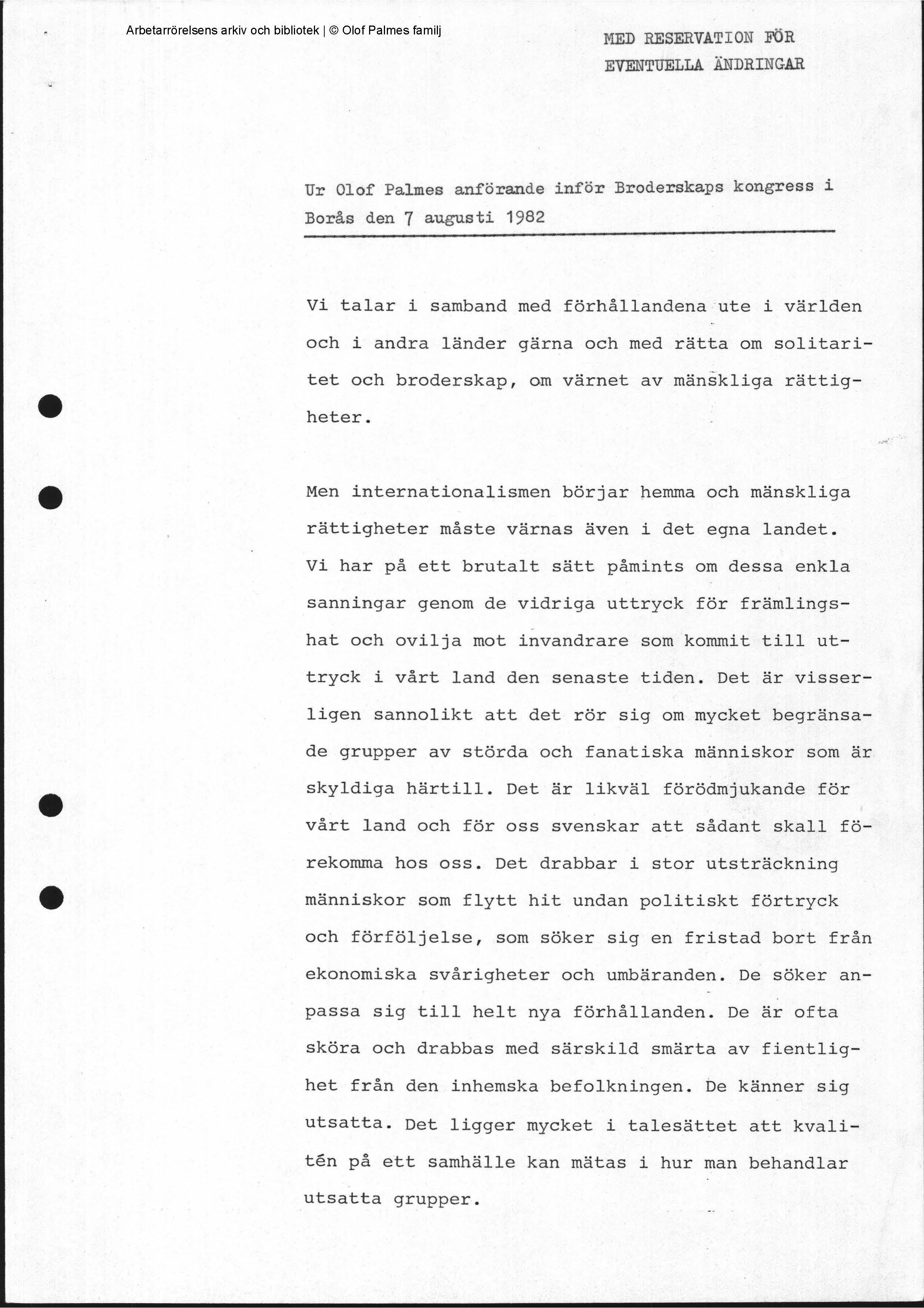 Olof Palmes anförande vid Broderskapsrörelsens kongress 1982