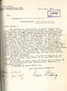 In 1948, Elsa Pittig wanted to travel to Sweden and needed Swedish money, something she hoped to earn by writing an article and sending it to the magazine Morgonbris (this was, however, not published). In the letter to the LMRR, she also offered, in return for money, to speak at meetings and inform the Swedish party comrades. (Source: Morgonbris)