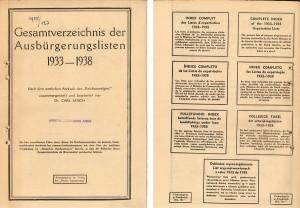Listor, över personer som av inrikesministeriet hade blivit fråntagna sitt tyska medborgarskap under 1933-1938. Utdrag ur det statliga organet Reichsanzeiger publicerat av förlaget Pariser Tageszeitung. (Montage)