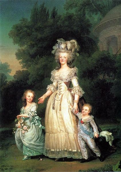 Drottning Marie Antoinette av Frankrike med sina två barn