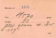Gunnar Ohrlander födelsekort