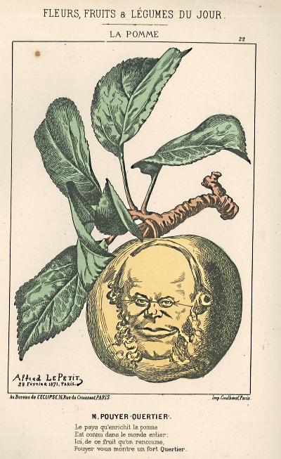 Karikatyr av Alfred Petit, från verket Fleurs, fruits et légumes du jour, av Allfred Le Petit & Hippolyte Briollet, 1971