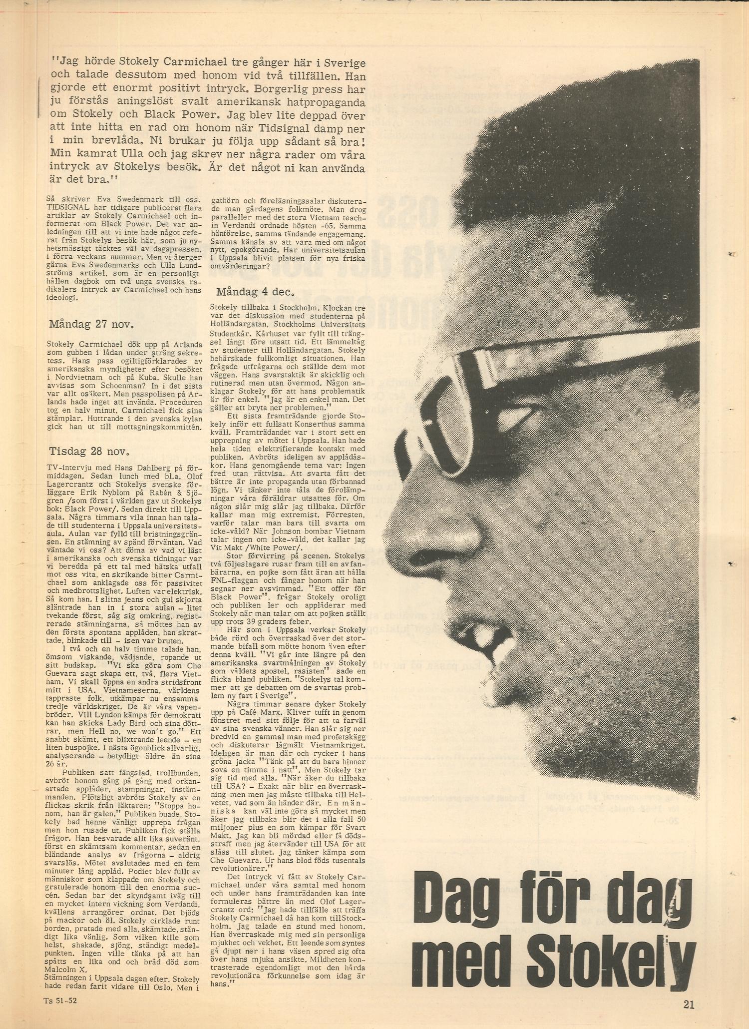 """Artikel: Swedenmark, """"Dag för dag med Stokely"""", i Tidsignal, 1967:51/52, s. 21"""