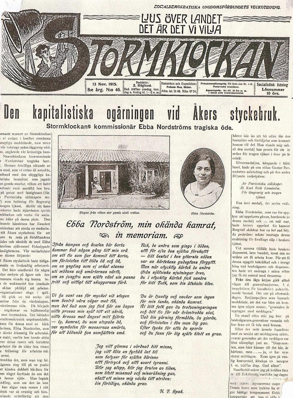 Stormklockan, 13 november 1915