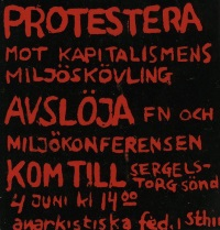Klistermärke från Anarkistiska federationens demonstration