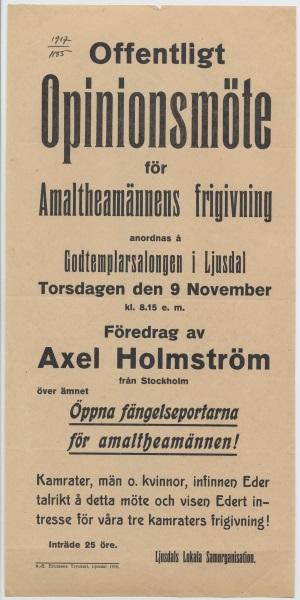 """""""Offentligt opinionsmöte för Amaltheamännens frigivning"""" (1916), affisch ur Sveriges arbetares centralorganisation, lokala samorganisationer [samling], arkiv nr 1555, affisch nr XL/1916/001, ARAB"""