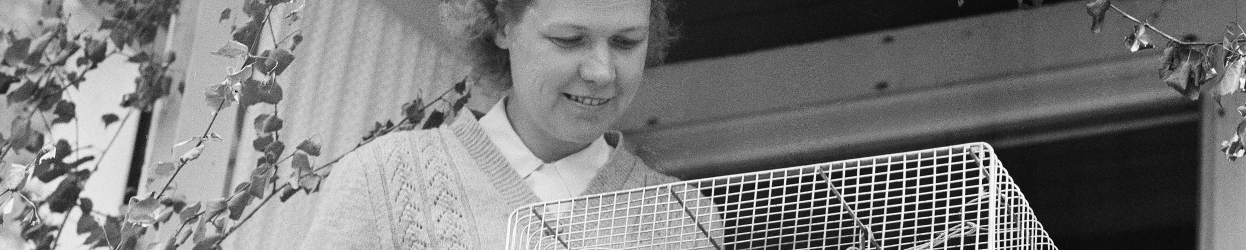 Bild på kvinna och bur med fåglar.