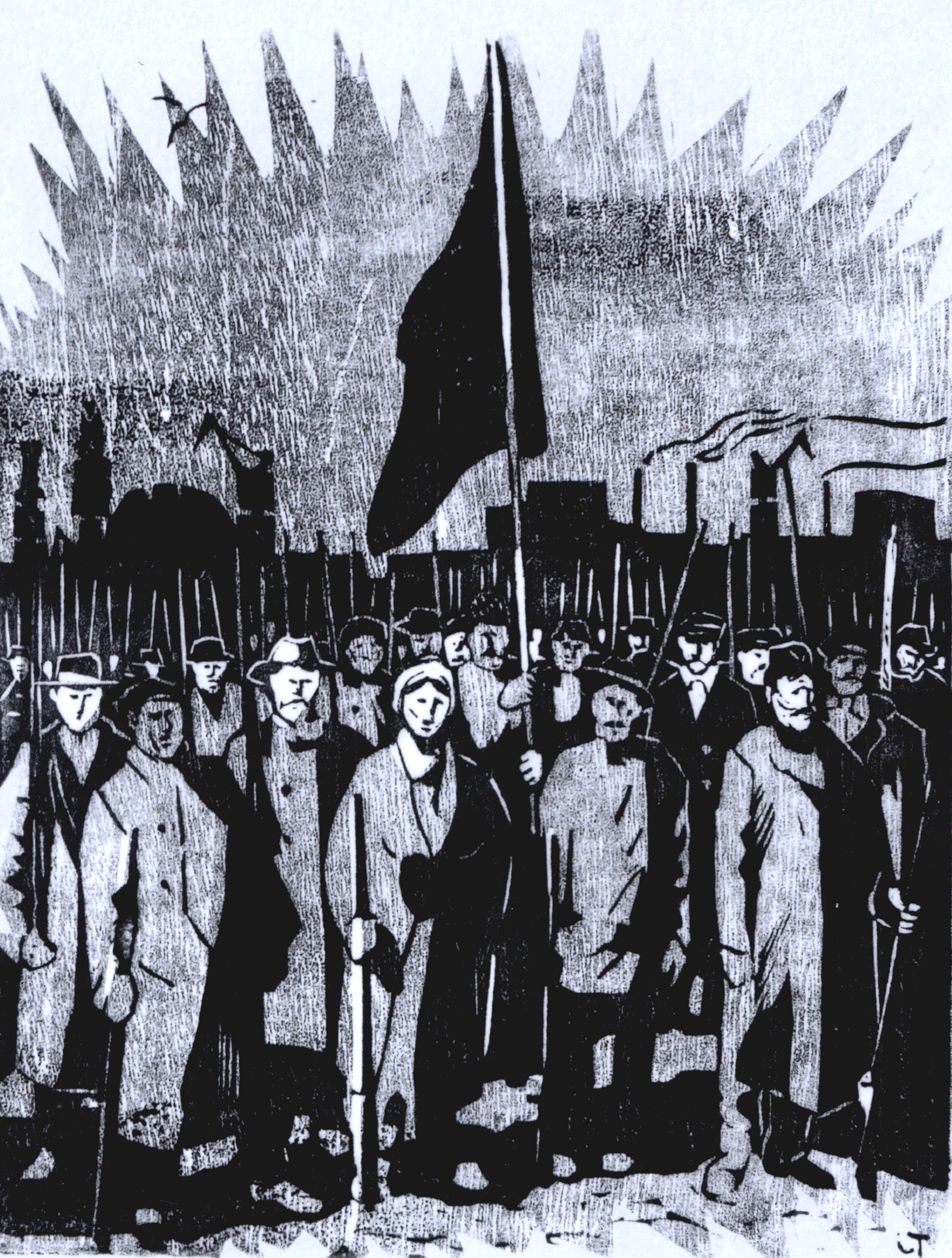 Närbild, framsida Röda Våren, bok 2018, träsnitt av Torsten Jurell