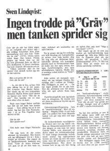 """""""Ingen trodde på 'Gräv' - men tanken sprider sig"""", bild på förstasidan av artikel av Sven Lindqvists artikel i Arbetarhistoria"""