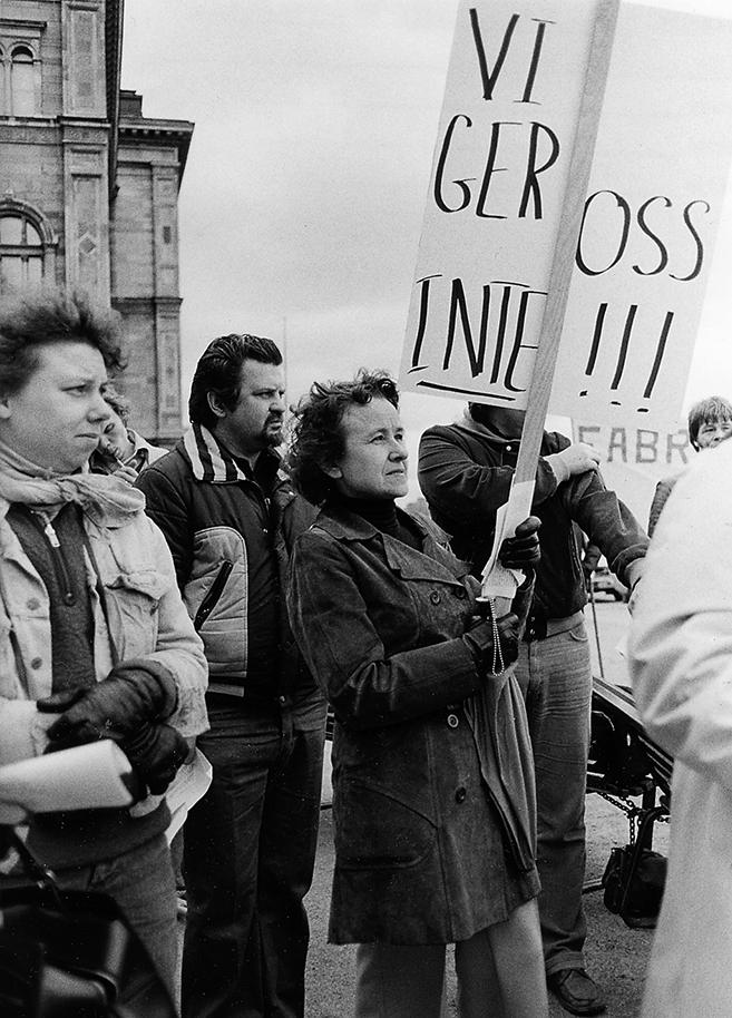 Demonstranter under storkonflikten 1980.