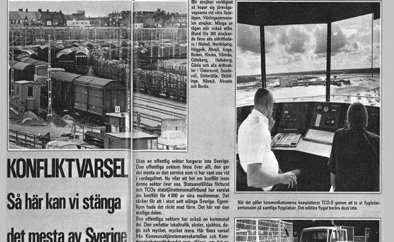 Artikel om varslen under storkonflikten ur tidningen Statsanställd nr 17-18/1980.