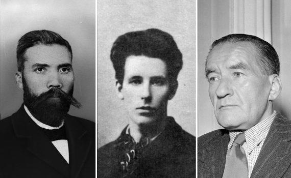 Svartvita porträtt på de tidiga arbetarpoeterna Karl Johan Gabrielsson, Karolus, Leon Larsson och Elmer Diktonius.