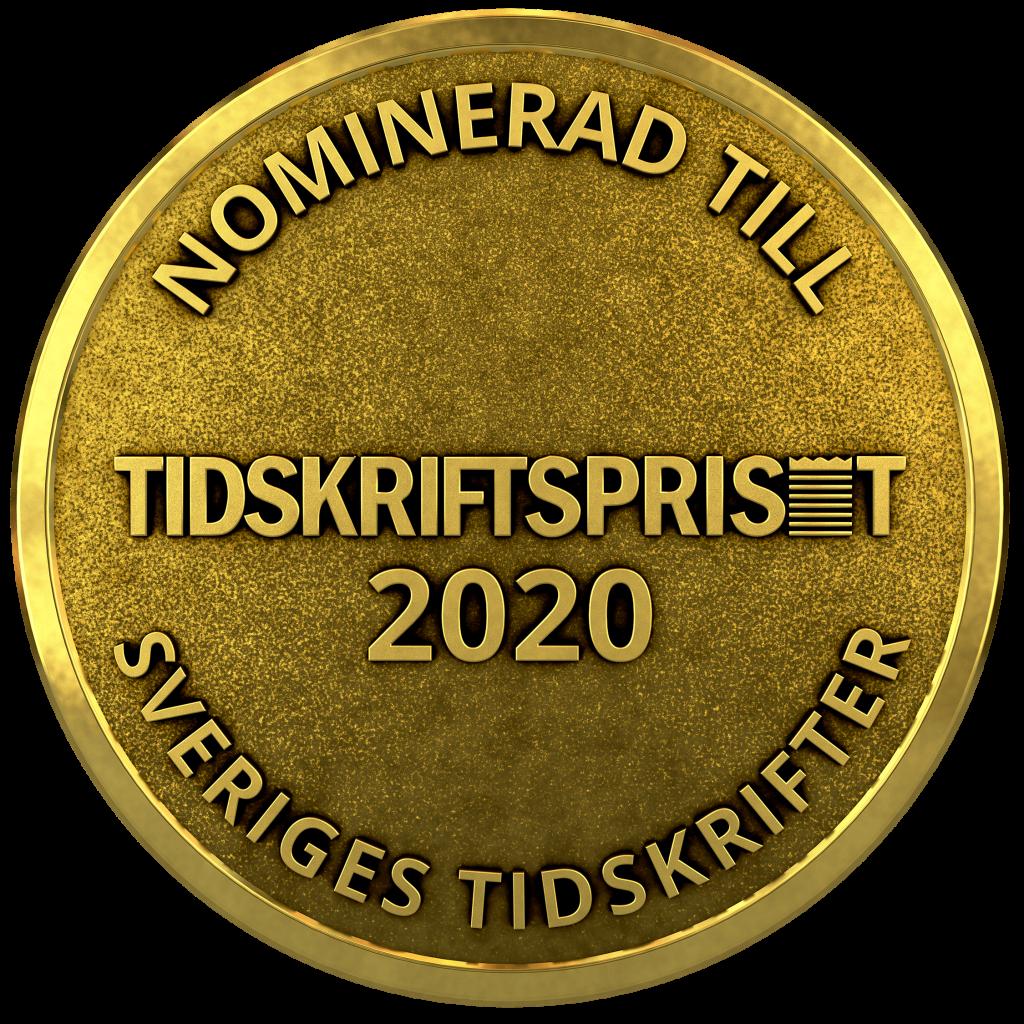 Medalj för nomineringen till Tidskriftspriset 2020 i kategorin Årets Tidskrift Fackpress.