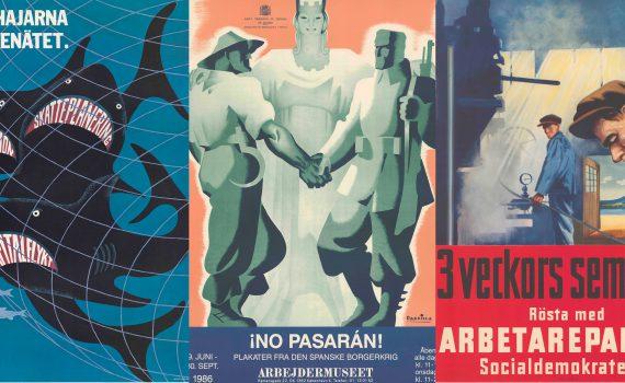 Tre exempel från ARABs julkampanj med arbetarrörelsens affischer.