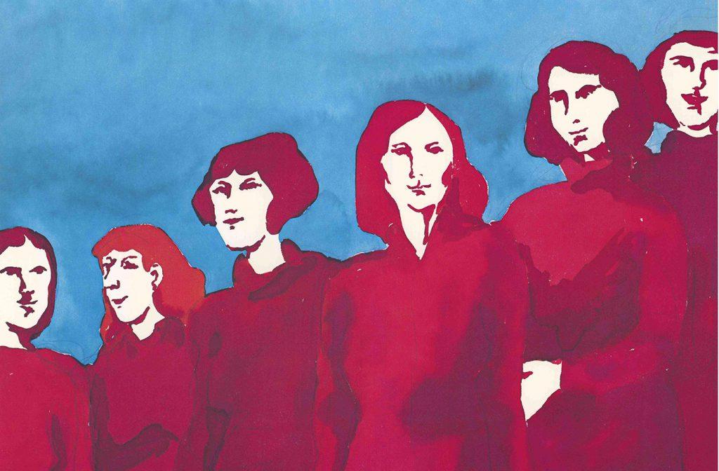 """En grupp kvinnor, målade i rosarött och blått, från s-kvinnors affisch """"Systrar, kamrater"""", som är med i ARABs affischkampanj. Bilden är signerad Ribrant."""