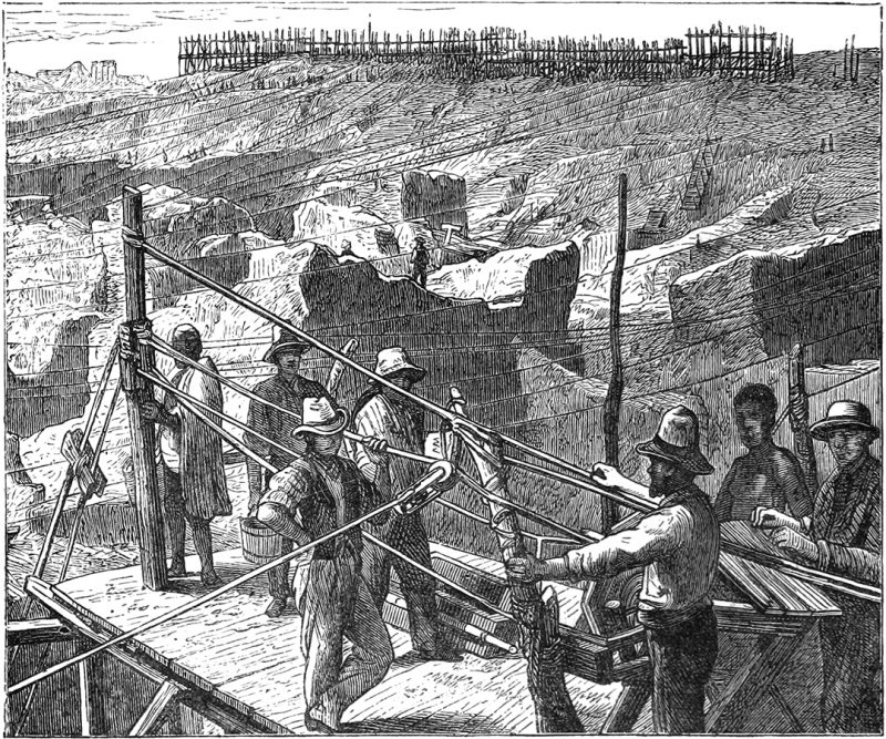 Gravyr från Emil Holubs bok Seven Years_in_South_Africa. Bilden föreställer diamantgruvan Kimberley Kopje i Sydafrika.