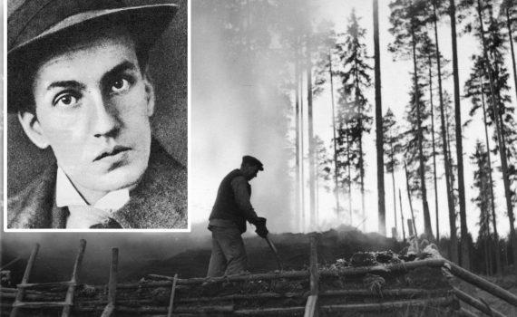 Svartvita bilder på Dan Andersson och mila i Finnmarken.