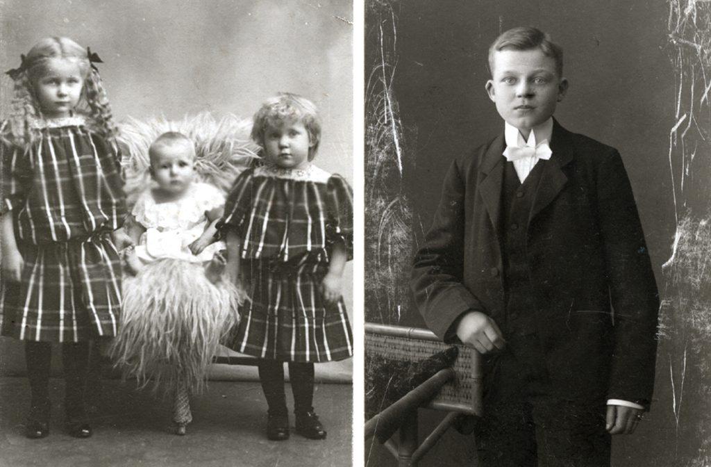 Kollage med svartvita bilder på Alva och Gunnar som barn. Alva, Folke and Rut 1907. Gunnar som gymnasist 1915.