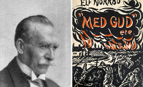 """Kollage med svartvit bild av författaren Elf Norrbo och ett omslag till en av hans böcker: """"Med gud etc""""."""