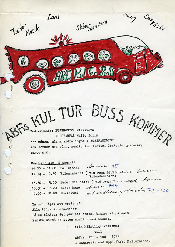 Reklamblad om Kul-Tur-Buss