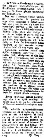 Hjalmar Branting om Arbetarrörelsens arkiv i Social-Demokraten 1903-10-31