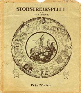 Omslaget till Storstrejkspelet av Waldeck (Thorgny Wallbeck-Hallgren, 1878-1925)