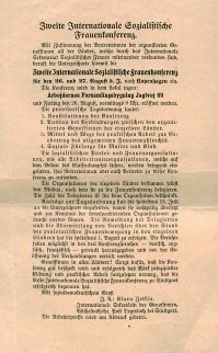 invitation to the Second International Women's Conference in Copenhagen on 26-27 August 1910