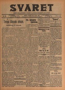 Svarets förstasida 29/8 1909