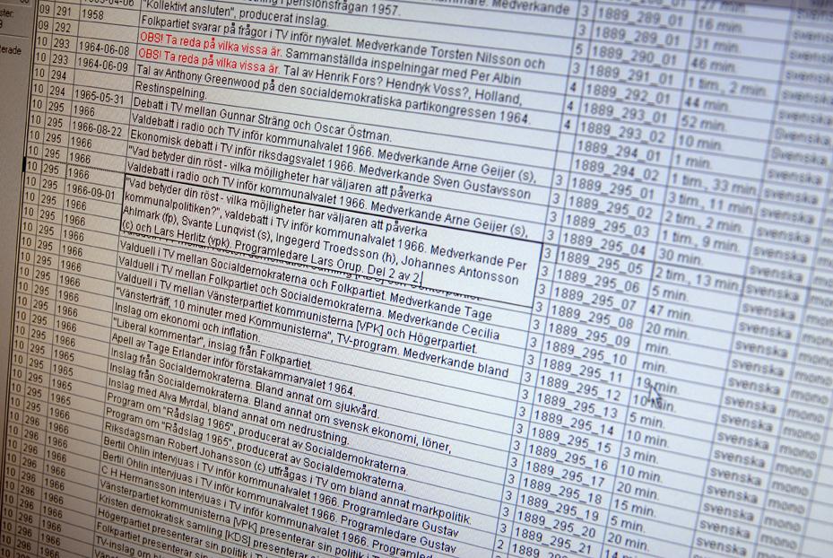 Detalj av registret