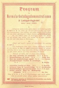 Program för normalarbetsdagsdemonstration å Ladugårdsgärdet 1 maj 1890