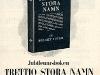 Reklamblad för jubileumsboken Trettio stora namn