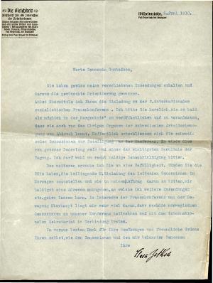 Zetkin to Gustafson 6/6 1910