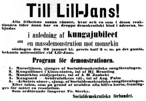 Möteskallelse och -program för massdemonstration mot monarkin, ur Social-Demokraten 1889-01-19.