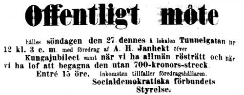 Kallelse till möte och föredrag med A. H. Janhekt, ur Social-Demokraten 1889-01-26.