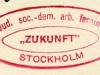 Stämpel: Jud. soc.-dem. arb. ferein Zukunft Stockholm