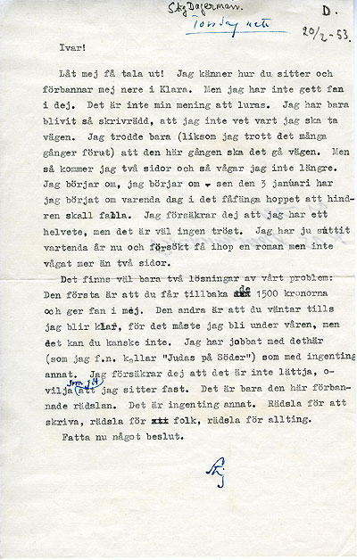 Brev från Stig Dagerman till Ivar Öhman 1953-02-20
