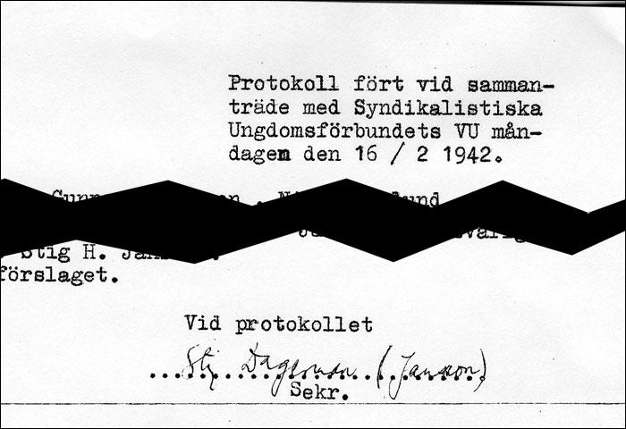 Detalj ur protokoll från SUF:s VU 16/2 1942