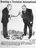 Branting o. Troelstras International. Karikatyr av Ivar Starkenberg, i tidningen Politiken den 18 maj 1917.